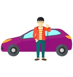 Man holding key from new car vector