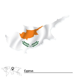 Map of Cyprus with flag vector image