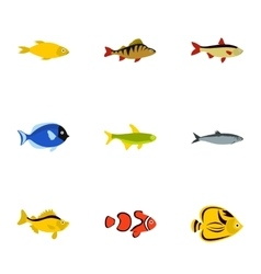 Marine fish icons set flat style vector