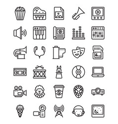 Media and entertainment icons set vector