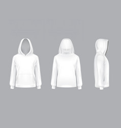 mockup with realistic white hoodie vector image