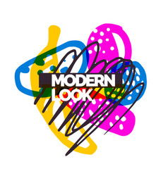 modern poster different shapes in doodle style vector image