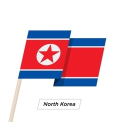 North Korea Ribbon Waving Flag Isolated on White vector