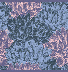 peony flower seamless pattern vector image