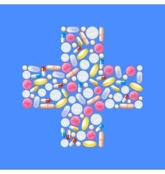 Pills in cross shape vector
