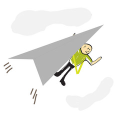 pilot flying a paper airplane vector image