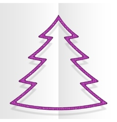 Pink sequins christmas tree winter new year vector