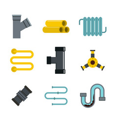 pipe icon set flat style vector image