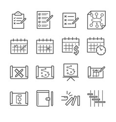 Plan and schedule icon set vector