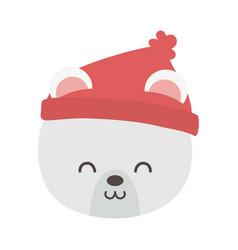 polar bear head with hat merry christmas vector image