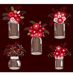 Red Flowers In Jars vector
