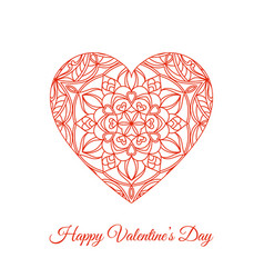 red fretwork floral heart happy valentines vector image