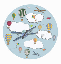 round template with hot air baloons planes vector image