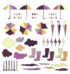 Rubber boots umbrellas rain set vector