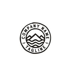 rustic mountain island beach sea stamp logo vector image