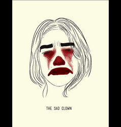 sad clown vector image