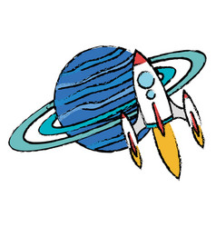 saturn planet with rocket flying vector image