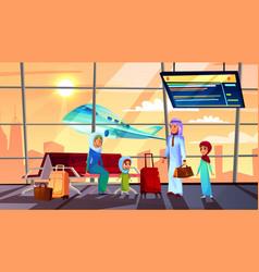 saudi arabian people in airport vector image