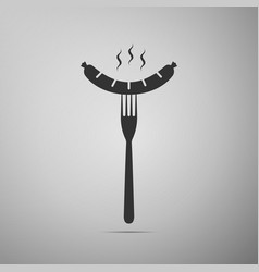 sausage on fork flat icon on grey background vector image