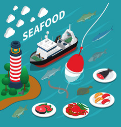 Seafood isometric composition vector