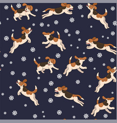 seamless pattern beagle dogs catch snowflakes vector image