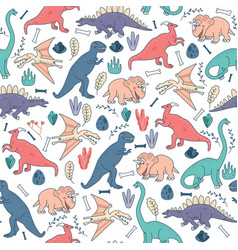 Seamless pattern dinosaurs background cute vector