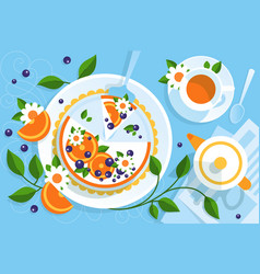 serving table for tea with pie vector image