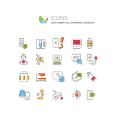 Set line icons medical technology vector