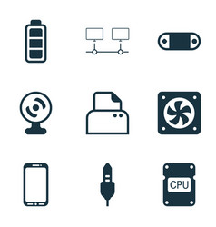 Set of 9 computer hardware icons includes file vector