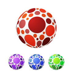 set of ball with colored circles bright vector image
