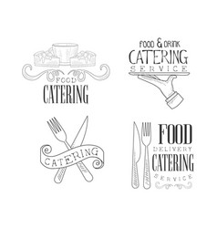 Set of sketch style emblems for catering vector