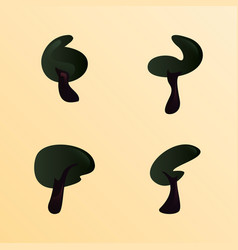 set of trees forest botanical vector image