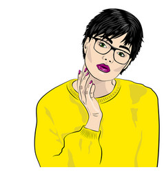 Sexy thoughtful fashion woman with reading glasses vector