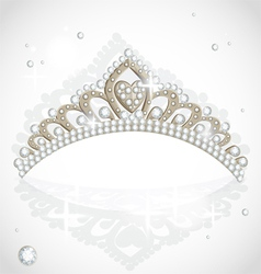 Shining tiara with diamonds vector image