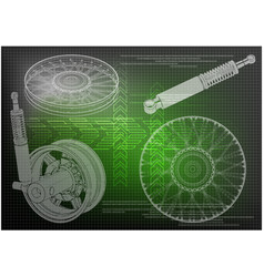 shock absorber and wheel vector image