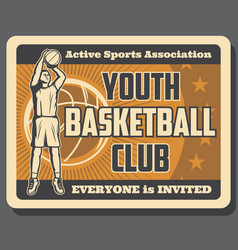 Sport basketball club vintage poster with player vector