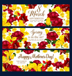 springtime women day flowers banners vector image