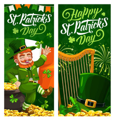 St patrick day cartoon celtic banners vector