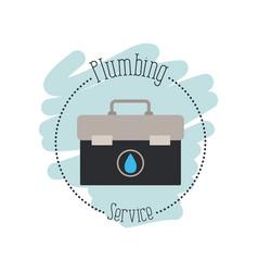 Sticker scene of toolbox plumbing service vector