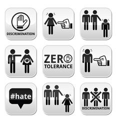 stop discrimination men and women buttons set vector image