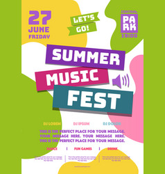 summer music fest party poster cartoon style vector image