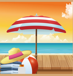 Summer time in beach vacations umbrella hat ball vector