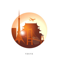 tokyo detailed silhouette vector image