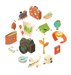 travel journey icons set isometric style vector image
