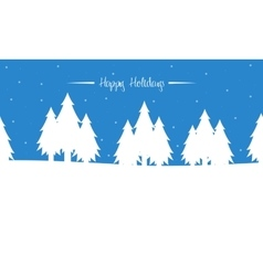 Tree winter christmas landscape of silhouettes vector image
