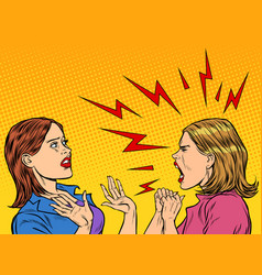 two angry women scream vector image