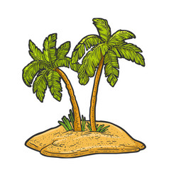 uninhabited island with two palm trees sketch vector image