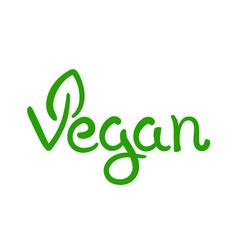 vegan hand written calligraphy green vector image