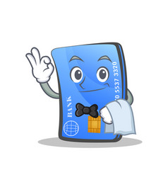 Waiter credit card character cartoon vector