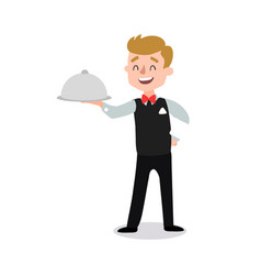 Waiter wearing the uniform holding a dish of vector